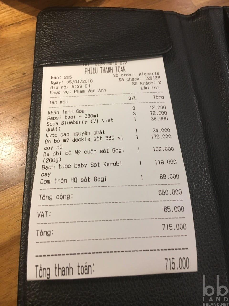Phiếu thanh toán Quán Thịt Nướng Hàn Quốc