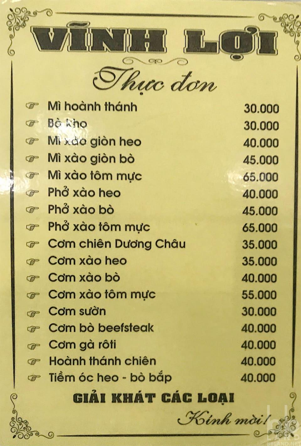 Thực đơn tại Tiệm Mì Vĩnh Lợi Đà Lạt