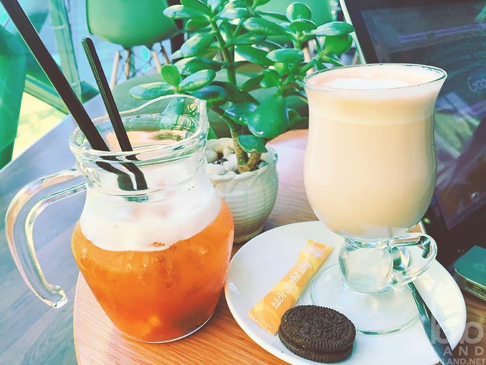 Latte và Trà Đào tại DOHA Cafe Đà Lạt